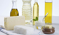 Bottles of fats and oils