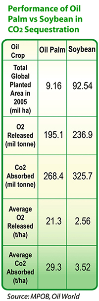 Performance of Oil Palm vs Soybean in CO2 Sequestration