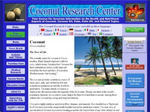 Screen shot of Coconut Research Center web page